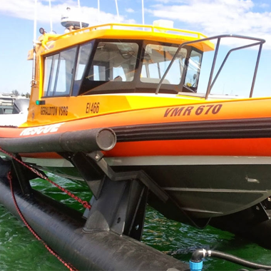 boat on a boat lifter built by Vortex Plastics in Geraldton